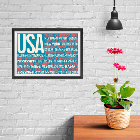 Ezposterprints - USA Text Flag of The US with State Names on Blue and Red - 12x08 ambiance display photo sample