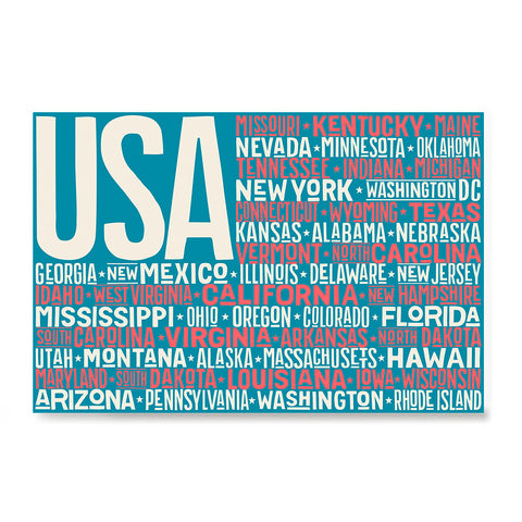Ezposterprints - USA Text Flag of The US with State Names on Blue and Red