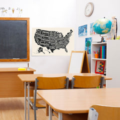 Ezposterprints - The United States of America States Map in Black and White - 36x24 ambiance display photo sample