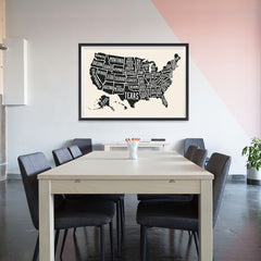 Ezposterprints - The United States of America States Map in Black and White - 48x32 ambiance display photo sample