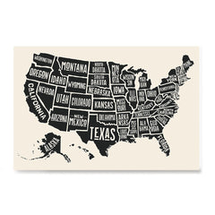 Ezposterprints - The United States of America States Map in Black and White