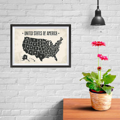 Ezposterprints - The United States of America States Map with Black Title - 12x08 ambiance display photo sample