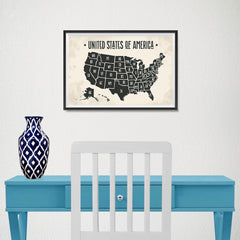 Ezposterprints - The United States of America States Map with Black Title - 18x12 ambiance display photo sample