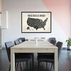 Ezposterprints - The United States of America States Map with Black Title - 48x32 ambiance display photo sample