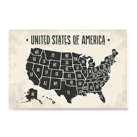 Ezposterprints - The United States of America States Map with Black Title