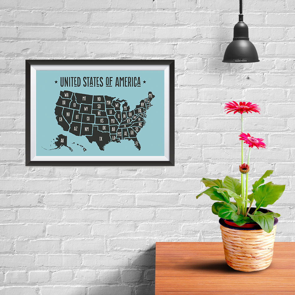 Ezposterprints - The United States of America States Map in Blue and Black - 12x08 ambiance display photo sample