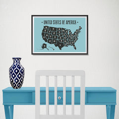 Ezposterprints - The United States of America States Map in Blue and Black - 18x12 ambiance display photo sample