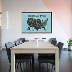 Ezposterprints - The United States of America States Map in Blue and Black - 48x32 ambiance display photo sample