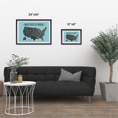 Ezposterprints - The United States of America States Map in Blue and Black ambiance display photo sample