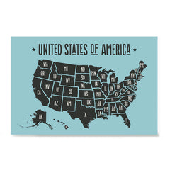 Ezposterprints - The United States of America States Map in Blue and Black
