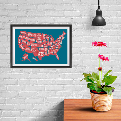 Ezposterprints - The United States of America States Map in Blue and Red - 12x08 ambiance display photo sample
