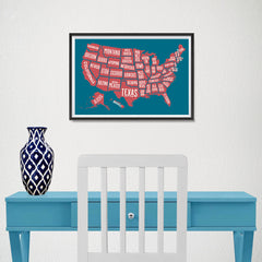 Ezposterprints - The United States of America States Map in Blue and Red - 18x12 ambiance display photo sample