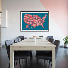 Ezposterprints - The United States of America States Map in Blue and Red - 48x32 ambiance display photo sample