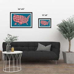 Ezposterprints - The United States of America States Map in Blue and Red ambiance display photo sample