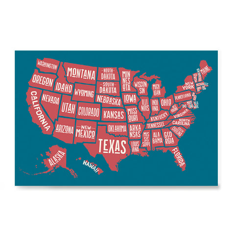 Ezposterprints - The United States of America States Map in Blue and Red