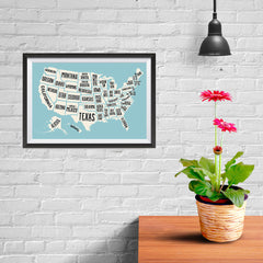 Ezposterprints - The United States of America States Map in Blue and White - 12x08 ambiance display photo sample