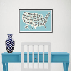 Ezposterprints - The United States of America States Map in Blue and White - 18x12 ambiance display photo sample