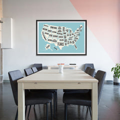 Ezposterprints - The United States of America States Map in Blue and White - 48x32 ambiance display photo sample