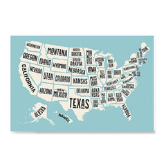 Ezposterprints - The United States of America States Map in Blue and White