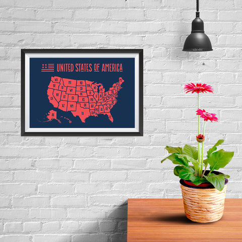 Ezposterprints - The United States of America States Map in Red and Navy - 12x08 ambiance display photo sample