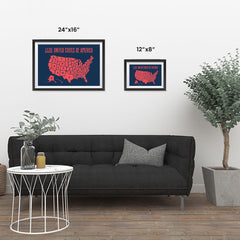 Ezposterprints - The United States of America States Map in Red and Navy ambiance display photo sample