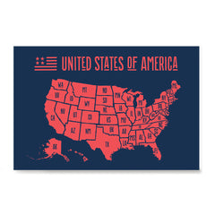 Ezposterprints - The United States of America States Map in Red and Navy