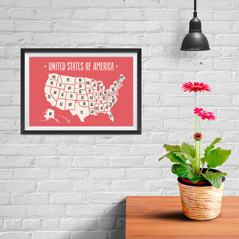 Ezposterprints - The United States of America States Map in Red and White - 12x08 ambiance display photo sample