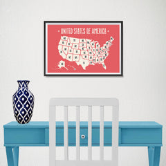Ezposterprints - The United States of America States Map in Red and White - 18x12 ambiance display photo sample