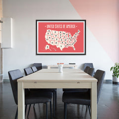 Ezposterprints - The United States of America States Map in Red and White - 48x32 ambiance display photo sample