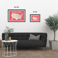 Ezposterprints - The United States of America States Map in Red and White ambiance display photo sample