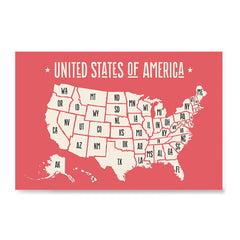 Ezposterprints - The United States of America States Map in Red and White