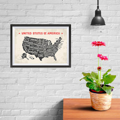 Ezposterprints - The United States of America States Map with Red Title - 12x08 ambiance display photo sample