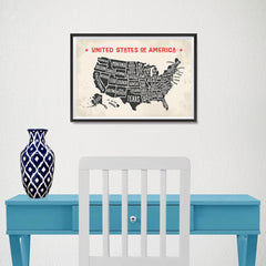 Ezposterprints - The United States of America States Map with Red Title - 18x12 ambiance display photo sample
