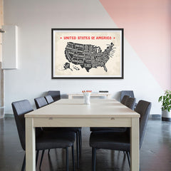 Ezposterprints - The United States of America States Map with Red Title - 48x32 ambiance display photo sample
