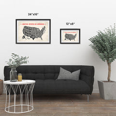 Ezposterprints - The United States of America States Map with Red Title ambiance display photo sample