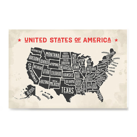 Ezposterprints - The United States of America States Map with Red Title