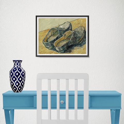 Ezposterprints - A Pair Of Leather Clogs | Van Gogh Art Reproduction - 16x12 ambiance display photo sample