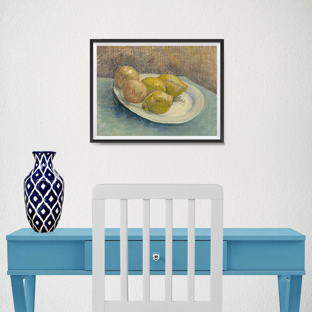 Ezposterprints - Dish With Citrus Fruit | Van Gogh Art Reproduction - 16x12 ambiance display photo sample