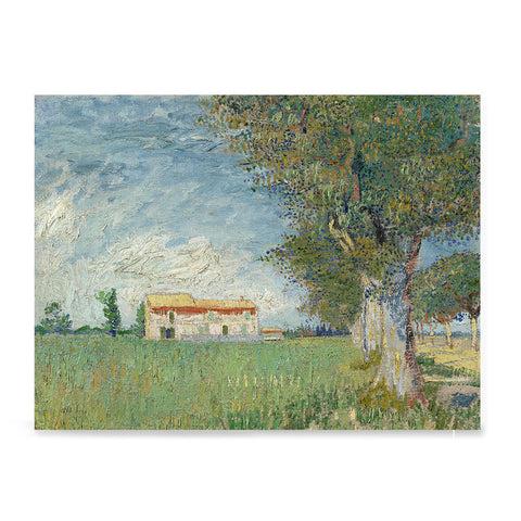Ezposterprints - Farmhouse In A Wheatfield | Van Gogh Art Reproduction
