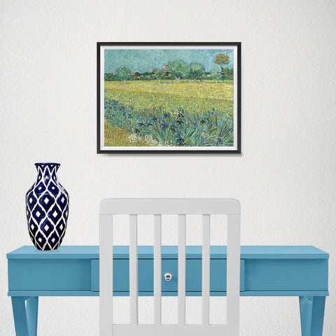 Ezposterprints - Field With Irises Near Arles | Van Gogh Art Reproduction - 16x12 ambiance display photo sample