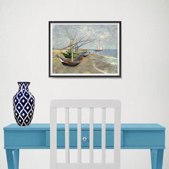 Ezposterprints - Fishing Boats On The Beach | Van Gogh Art Reproduction - 16x12 ambiance display photo sample