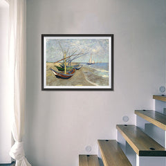 Ezposterprints - Fishing Boats On The Beach | Van Gogh Art Reproduction - 24x18 ambiance display photo sample