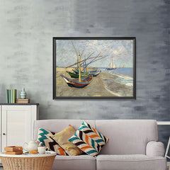 Ezposterprints - Fishing Boats On The Beach | Van Gogh Art Reproduction - 48x36 ambiance display photo sample