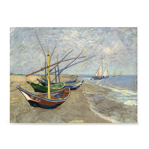 Ezposterprints - Fishing Boats On The Beach | Van Gogh Art Reproduction