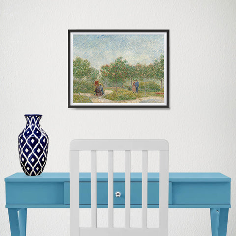 Ezposterprints - Garden With Courting Couples | Van Gogh Art Reproduction - 16x12 ambiance display photo sample