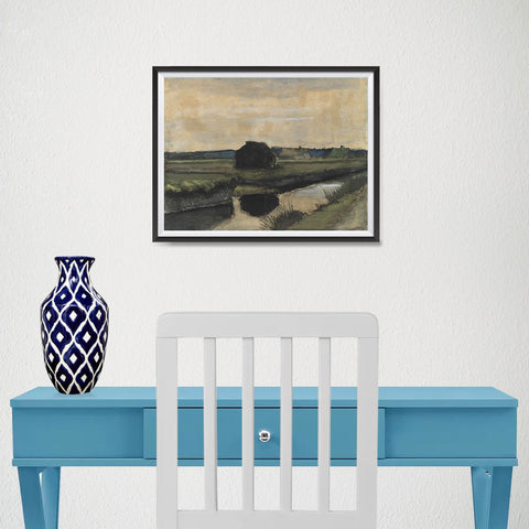 Ezposterprints - Landscape With A Stack Of Peat | Van Gogh Art Reproduction - 16x12 ambiance display photo sample