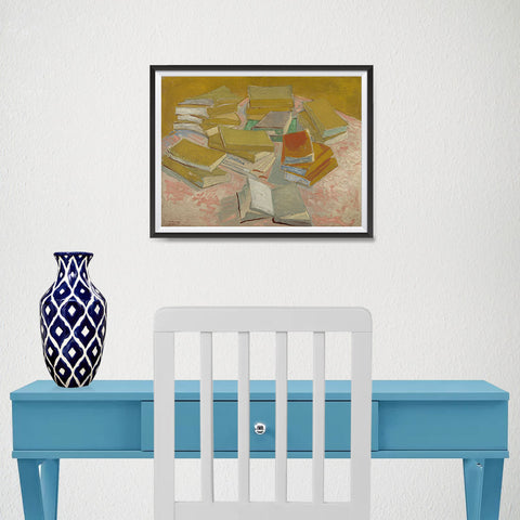 Ezposterprints - Piles Of French Novels | Van Gogh Art Reproduction - 16x12 ambiance display photo sample