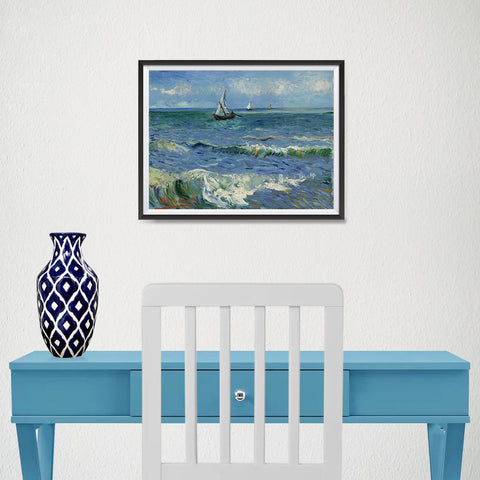 Ezposterprints - Seascape Near Les Saintes | Van Gogh Art Reproduction - 16x12 ambiance display photo sample