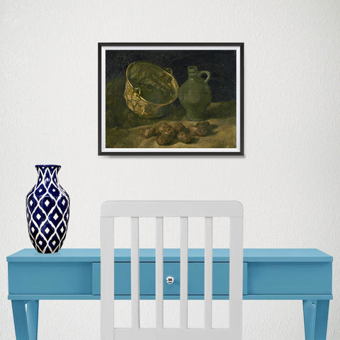 Ezposterprints - Still Life With Brass Cauldron And Jug | Van Gogh Art Reproduction - 16x12 ambiance display photo sample