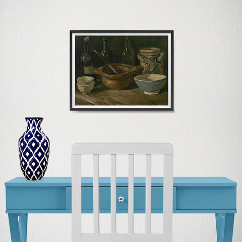 Ezposterprints - Still Life With Earthenware And Bottles | Van Gogh Art Reproduction - 16x12 ambiance display photo sample